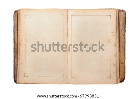 Open old book. Isolated on white background - stock photo