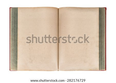 Open old book isolated on white background. Grungy worn paper texture