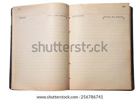 open old book isolated on white background with clipping path - stock photo