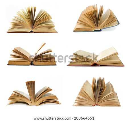 Open old book isolated on white. Book set - stock photo
