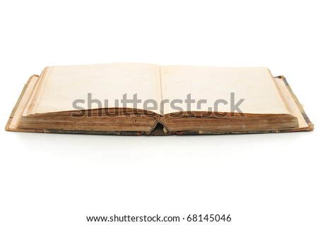 Open old book. Isolated on white with soft shadows.
