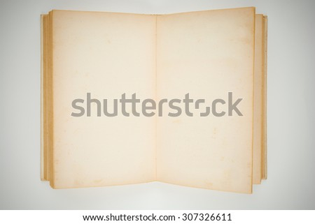 Open old book with blank pages - stock photo