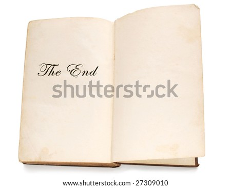 """Open old book with words """"the end"""" - stock photo"""