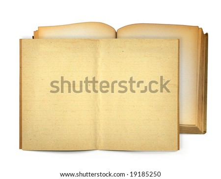 open old books, gentle natural shadow in front - stock photo