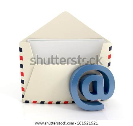 Open Old-fashioned Airmail Paper Envelope. Email concept - stock photo