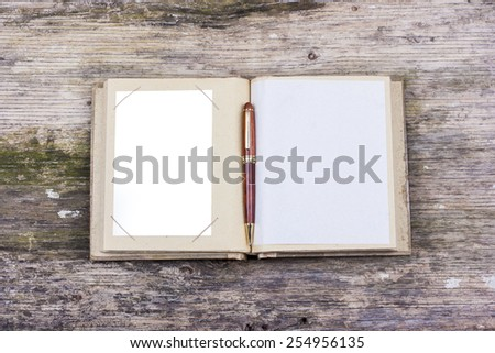 Open old photo book - stock photo