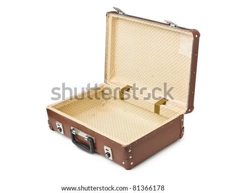 open old suitcase isolated on white background - stock photo