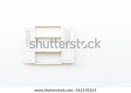 Open Old Window On White Wall - Vintage