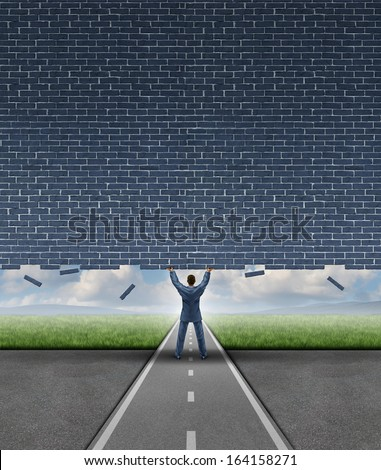 Open opportunity business concept as a businessman on a road lifting up a heavy brick wall breaking free and opening up a doorway and removing an obstacle to success through leadership and vision. - stock photo