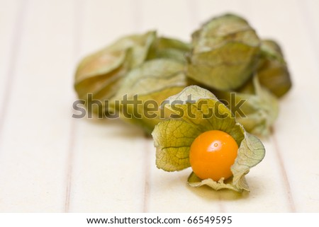 Open organic physalis fruit on rice paper background