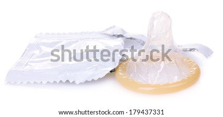 Open pack and condom isolated on white - stock photo