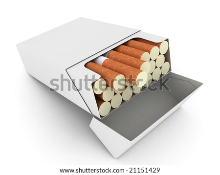 Open pack of cigarettes - stock photo