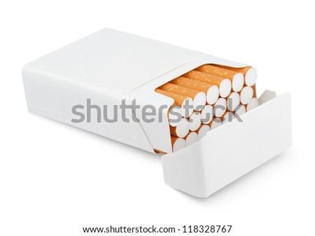 Open pack of cigarettes isolated on white with clipping path