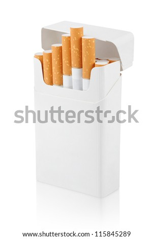 Open pack of cigarettes stands vertically on white with clipping path - stock photo