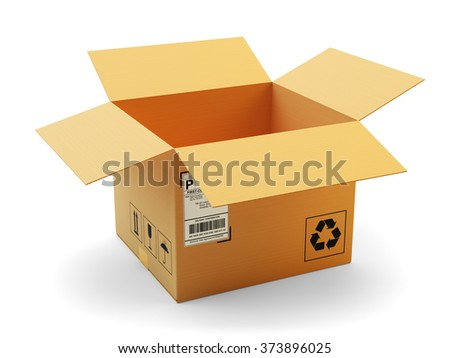 Open package icon, delivery, transportation and packaging concept, opened empty cardboard box isolated on white background - stock photo