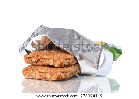open package of granola bars isolated white background - stock photo