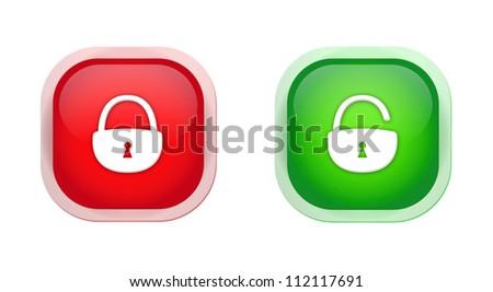 open padlock closed padlock icons - stock photo
