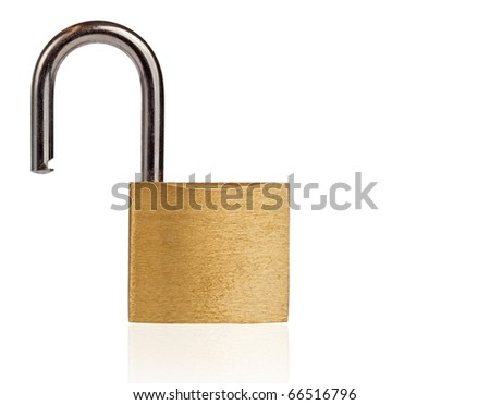 Open padlock isolated on white with clipping path - stock photo