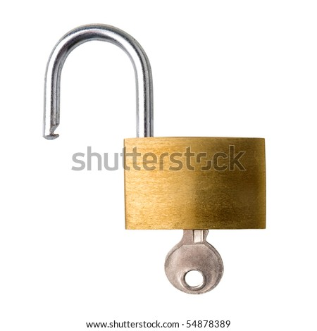 Open padlock with key, white background, clipping path. - stock photo