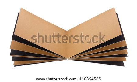 Open page recycled paper notebook isolated on white background. - stock photo