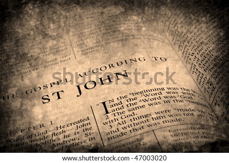 Open pages of bible isolated on white background - stock photo