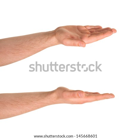 Open palm caucasian hand gesture isolated over white background, set of two foreshortenings - stock photo