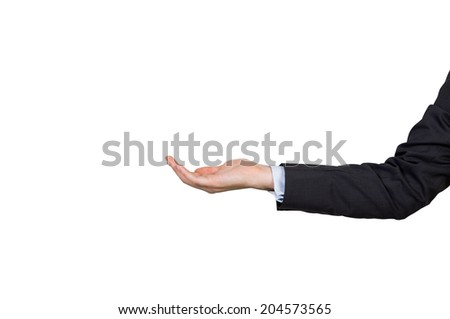 Open palm hand gesture of male hand on isolated background.