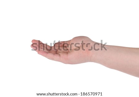 Open palm male hand gesture. Isolated on a white background.