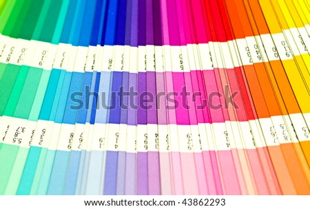 open Pantone sample colors catalogue - stock photo
