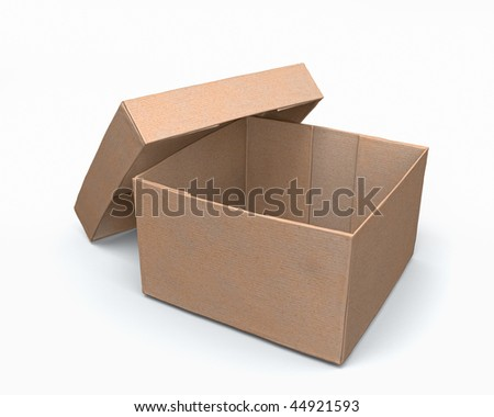 Open paper box 3d model isolated