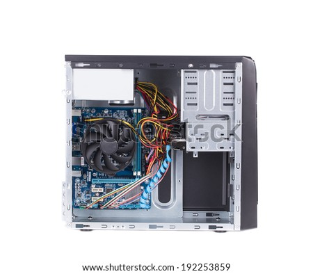 Open PC computer case. Isolated on a white background.