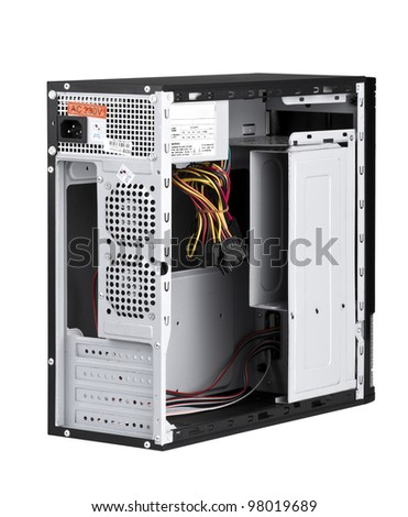 Open PC computer to install your hardware and accessories isolated - stock photo