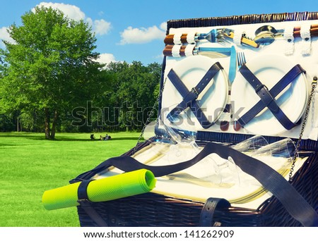 Open picnic basket in the park - stock photo