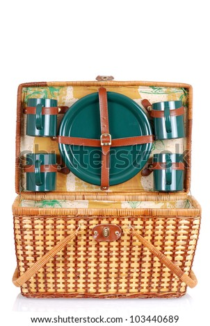 open picnic basket with green plates - stock photo
