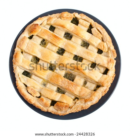 open pie with spinach - stock photo