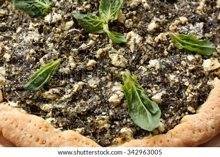 Open pie with spinach close up - stock photo