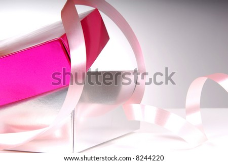 Open Pink Giftbox with Satin Ribbon - stock photo