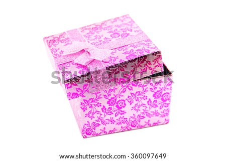Open pink - metallic-silver gift box with ribbon bow. Holiday present. Object isolated on white background.