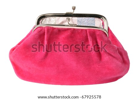Open pink toilet bag, isolated in a white background