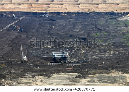 open pit coal mine with excavators and machinery