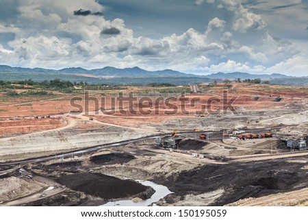 open pit lignite mine at mae-moh Lam-pang  Thailand - stock photo
