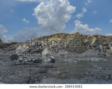 Limestone Quarry Open Pit Mine Thailand Stock Photo