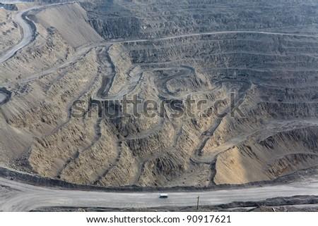 Open pit mine - stock photo