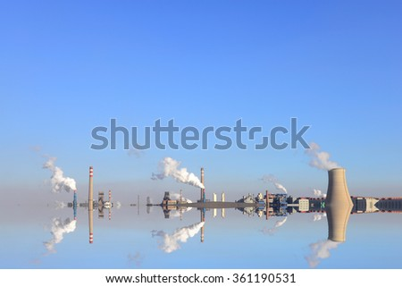 Open-pit mine and power plant  - stock photo