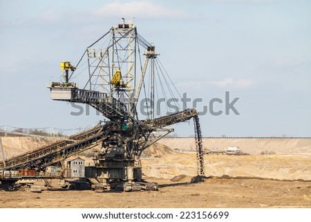Open pit. Opencast brown coal mine. Giant excavator machinery. Extractive industry. - stock photo