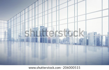 Open plan interior with large windows - stock photo