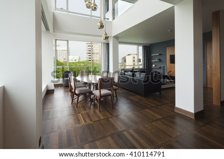 open plan living room of a luxury duplex apartment