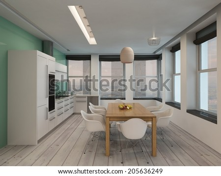Open plan modern kitchen and dining room interior with built in appliances along one wall and a contemporary, dining table and chairs in a long room with surround windows letting in plenty of daylight - stock photo