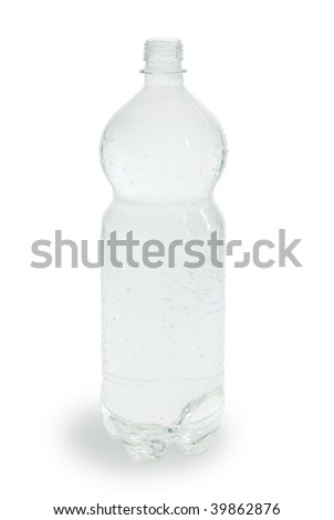 Open plastic bottle of water. On a white background - stock photo