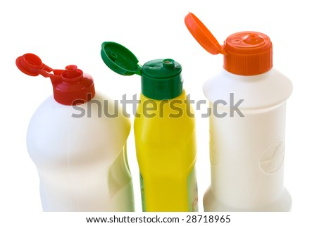 open plastic bottles isolated on white background
